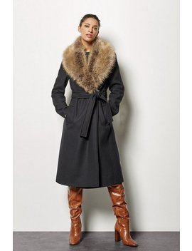 Forever Wrap Coat With Fur Collar Forever Wrap Coat With Fur Collar by Karen Millen
