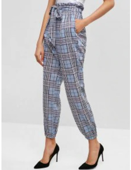 Popular Knotted Plaid Jogger Pants   Light Blue Xl by Zaful