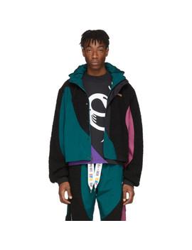 Black & Green Collection 3 Nylon Windbreaker Jacket by Reebok By Pyer Moss