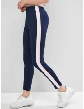 Popular High Waisted Striped Side Sports Leggings   Midnight Blue 2xl by Zaful