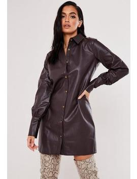 Tall Brown Faux Leather Shirt Dress by Missguided