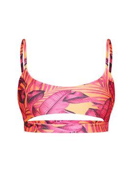 Orange Palm Leaf Cut Out Bikini Top by Prettylittlething