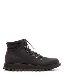 Padded Matte Leather Hiking Boots by Dolce & Gabbana