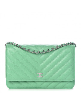 Chanel Caviar Chevron Quilted Wallet On Chain Woc Green by Chanel