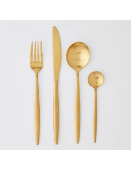16 Piece Slim Gold Finish Cutlery Set by Target