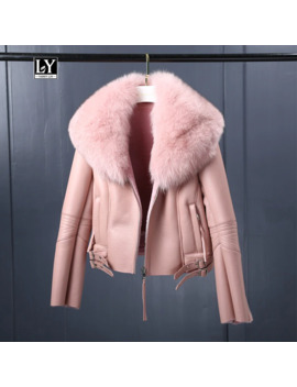 Ly Varey Lin Women Winter Faux Sheepskin Coat Short Faux Lambs Wool Fur Collar Leather Jacket Warm Thick Female Zipper Outerwear by Ali Express.Com