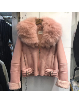 Real Fox Fur Collar Leather Jacket Women New Korean Style Natural Fur Coat Lady Short Imitation Lamb Fur Liner Coat Pu Leather by Ali Express.Com