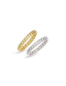 Set Of 2 Chain Link Rings by Adina's Jewels