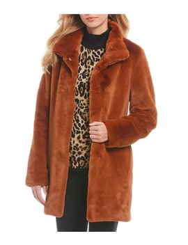 Stand Collar Faux Fur Coat by Calvin Klein