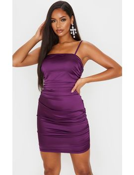 Purple Matte Satin Strappy Ruched Bodycon Dress by Prettylittlething