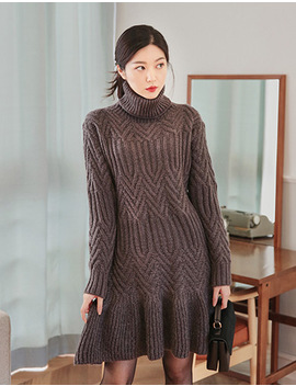 [Chuu] Turtleneck Flare Knit Dress by Chuu