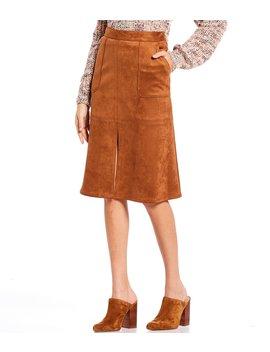 Lara Faux Suede Front Slit A Line Midi Skirt by Cremieux