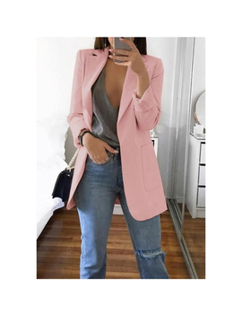 Fashion Turn Down Collar Coat Women Autumn Casual Solid Long Sleeve Pocket Office Business Suit Cardigan Femme Slim Blazer Coat by Ali Express.Com