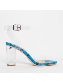 Kimana Blue Snake Clear Mid Block Heels by Simmigirl