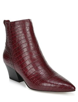 Sarto By Franco Sarto Luca Croco Print Leather Block Heel Booties by Franco Sarto