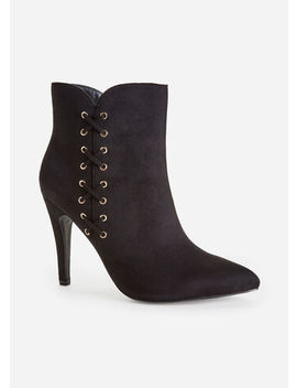 Faux Suede Lace Up Wide Width Ankle Booties by Ashley Stewart