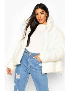 Teddy Faux Fur Puffer Jacket by Boohoo