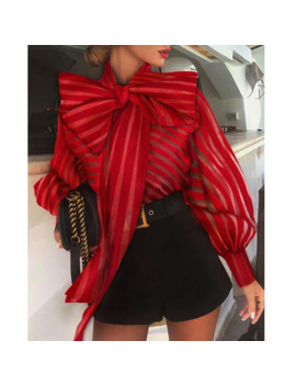 New Fashion Women's Puff Long Sleeve Striped Blouses Bow Collar Shirts Streetwear Ladies Casual Mesh Tops Camisas Blusa Mujer by Ali Express.Com