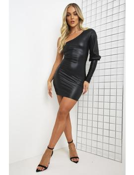 Black Faux Leather Ruched One Shoulder Mini Dress by Lasula