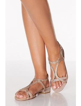 Rose Gold Diamante Strappy Low Heeled Sandals by Quiz