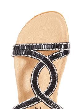 Wide Fit Diamante Loop Flat Sandals by Quiz