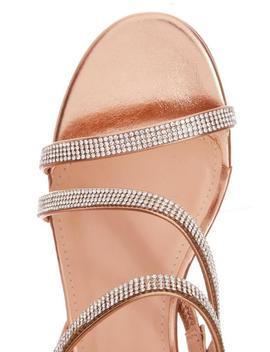 Rose Gold Diamante Block Heel Sandals by Quiz