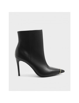 Pointed Toe Chelsea Boots Pointed Toe Chelsea Boots  Metallic Accent Stiletto Heel Ankle Boots by Charles & Keith