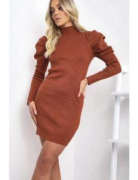 Rust Ribbed Puff Sleeve Dress by Lasula