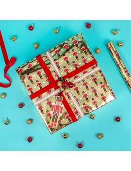 Nutcracker On Gold Christmas Wrapping Paper   3m by Paperchase