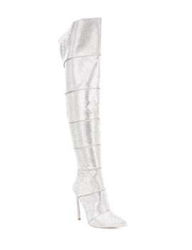 Wonders Rhinestone Embellished Over The Knee Boots by Steve Madden