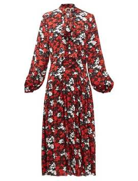 Pussy Bow Floral Print Crepe Dress by No. 21