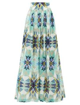 New Jane Diamond Print Cotton Midi Skirt by Le Sirenuse, Positano