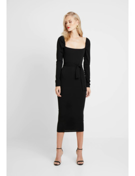Puff Sleeve Belted Bodycon Midi Dress   Etuikjole by Missguided Tall