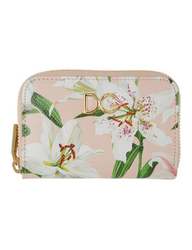 Pink Lily Zip Card Holder by Dolce & Gabbana