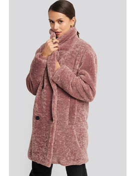 Long Teddy Coat Pink by Na Kd Trend