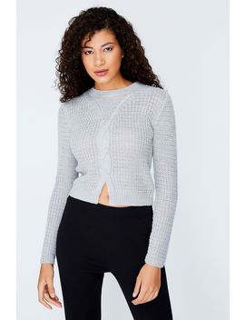Grey Marl Cable Crop Split Front Jumper by Select