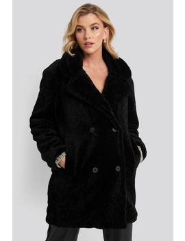 Long Teddy Coat Black by Na Kd Trend