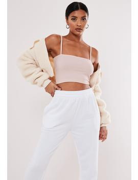 Pink Straight Neck Strappy Crop Top by Missguided