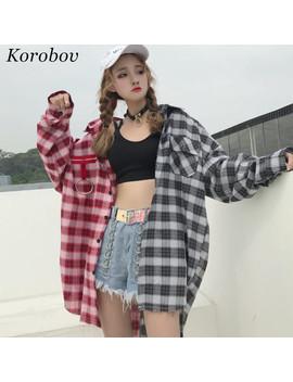 2019 Plaid Patchwork Vintage Mujer Chemisier Décontracté Col Rabattu Chemises Nouvelle Mode été Coréen Blusas 75488 by Ali Express.Com