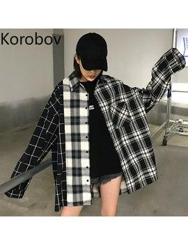 Korobov Harajuku Femmes Chemises à Manches Longues Plaid Patchwork Bf Style Femme Blusas Col Rabattu Coréen Mujer Blouse 77458 by Ali Express.Com