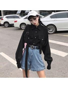 Harajuku Femmes Chemises Vintage Gothique Japonais Style Punk Rue à Manches Longues Hauts Coréen Noir Hip Hop Obscurité Femme Blouse by Ali Express.Com