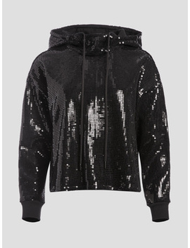 Niki Sequin Funnel Neck Hoodie by Alice And Olivia