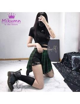 2019 été Femmes Harajuku Shorts Jupes Gothique Punk Noir Rouge Vert Plaid Plissé Jupes Taille Haute Femme Mode Jupes Courtes by Ali Express.Com