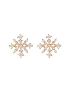 14 K Yellow Gold Cz Snowflake Stud Earrings by Candela