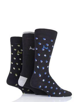 Mens 3 Pair Pringle Elliot Dots And Plain Cotton Socks by Sock Shop