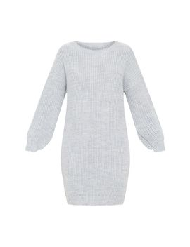 Grey Basic Knit Jumper Dress by Prettylittlething