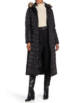 Missy Maxi Down Puffer Faux Fur Trim Jacket by Michael Michael Kors