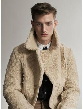 Maison Martin Margiela X H&M Sheepskin Patern Suede Beige Unisex Coat Size M by M Aison Martin Margiela