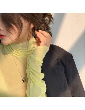 J Style   Mock Turtleneck Long Sleeve Mesh Top by J Style