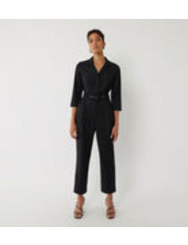 Placket Belted Jumpsuit by Warehouse